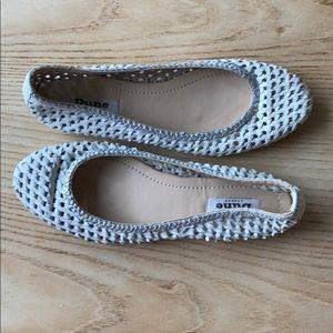 Dune London white braided leather flats sandal